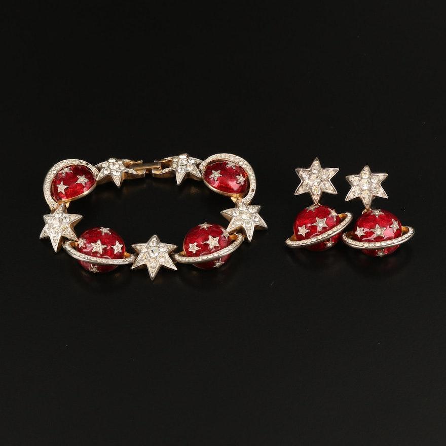 Butler & Wilson of London Stars and Saturn Enamel and Rhinestone Jewelry Set