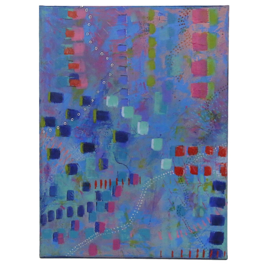 "Sanna Acrylic Painting ""Happiness,"" 2020"