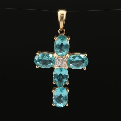 14K Apatite and Diamond Cross Pendant