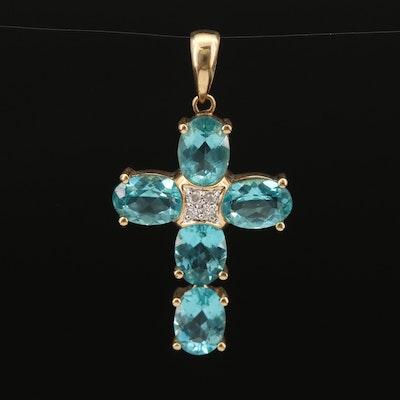 14K Apatite and Diamond Cross Pendant