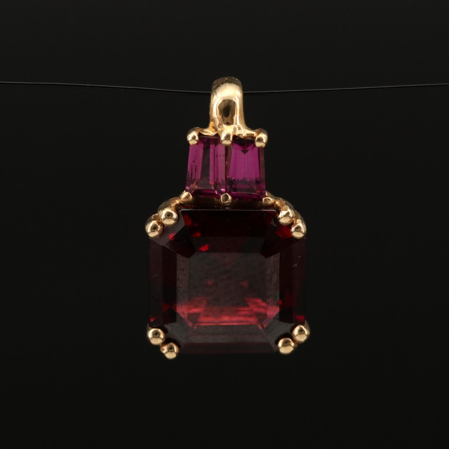 14K Garnet Pendant