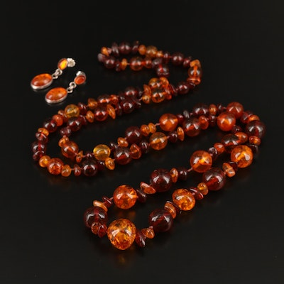Graduated Amber and Copal Beaded Necklace with Sterling Amber Earrings