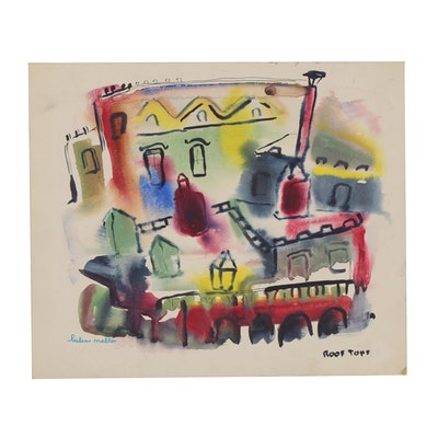 "Helen Malta Abstract Watercolor Painting ""Roof Tops"""