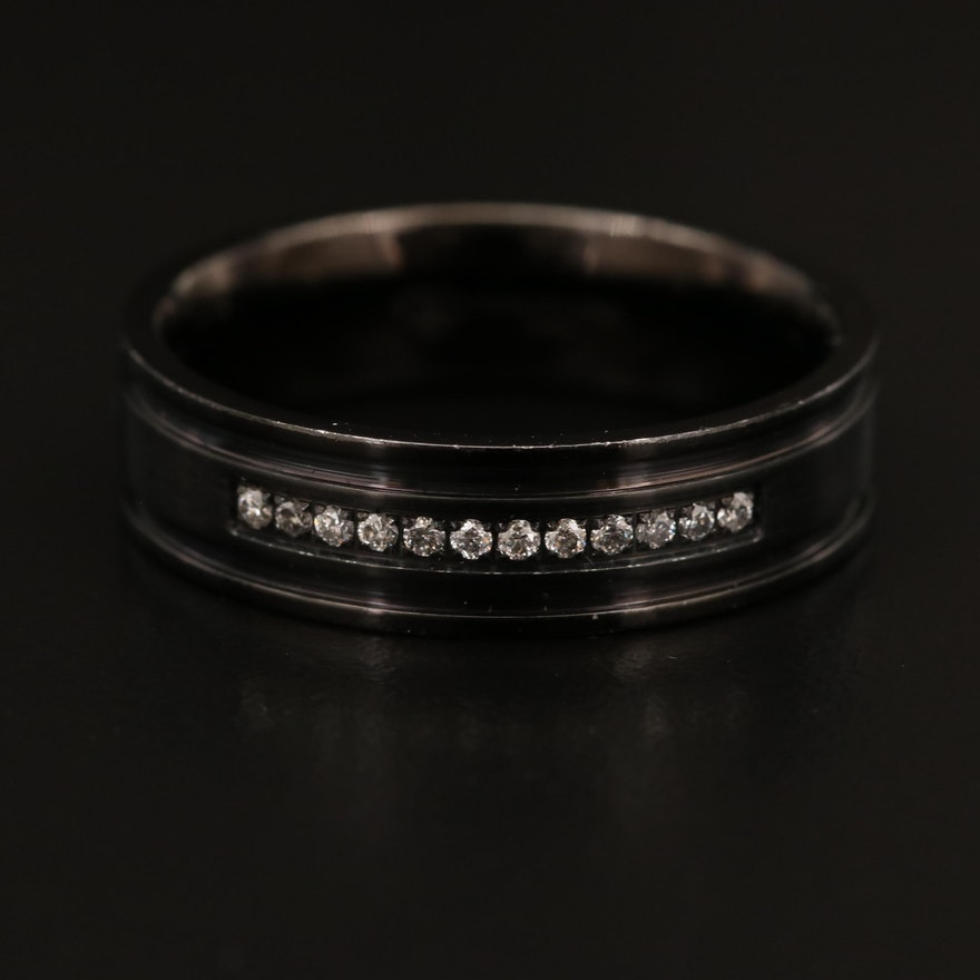 Stainless Steel Channel Set Diamond Band