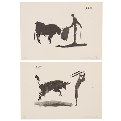 Photomechanical Prints after Pablo Picasso Ink Sketches, Mid-20th Century