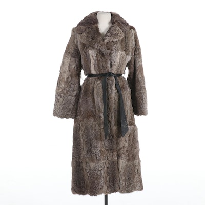 Chinese Rabbit Fur Full-Length Coat with Notched Collar and Leather Tie Belt