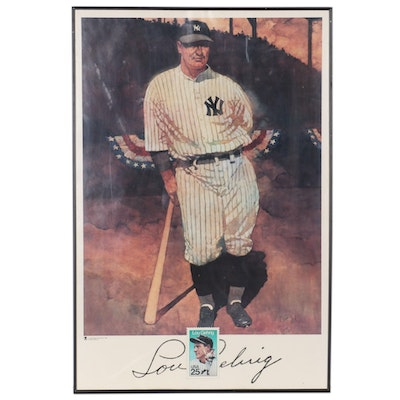 Offset Lithograph after Bart Forbes of Lou Gehrig, 1989