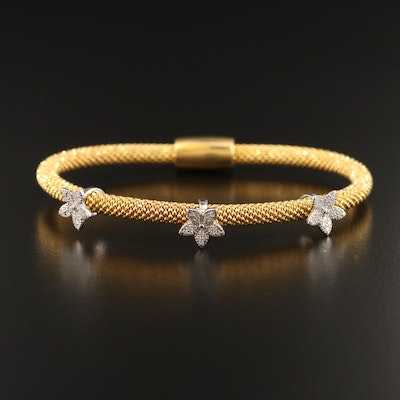 Sterling Cubic Zirconia Bracelet with Flower Stations