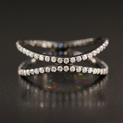 Sterling Silver Cubic Zirconia Undulating Double Row Ring