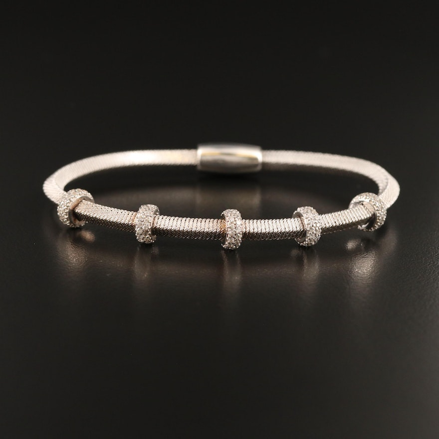 Sterling Cubic Zirconia Wire Wrapped Station Bracelet