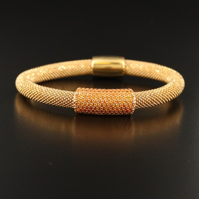 Sterling Beaded Mesh Bracelet with Cubic Zirconia Accents