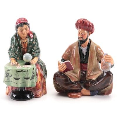 "Royal Doulton ""Fortune Teller"" and ""Omar Khayyam"" Bone China Figurines"