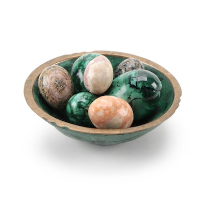 Malachite and Jasper Polished Stone Eggs and Malachite Mosaic Bowl