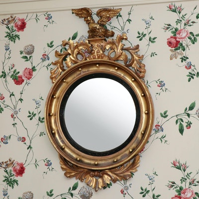 Federal Style Giltwood Convex Wall Mirror with Eagle Rampant