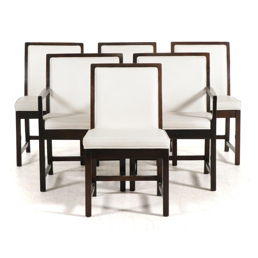 Six Modernist Walnut-Stained Vinyl-Upholstered Dining Chairs, circa 1970