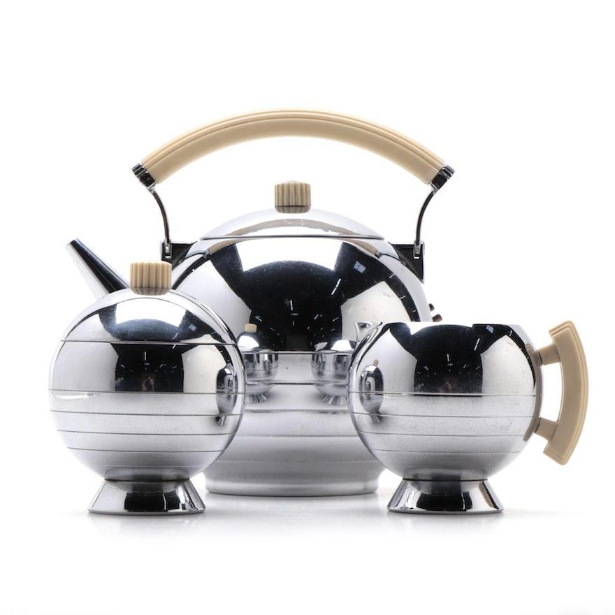 """Chase """"Comet"""" Chrome Tea Set Designed by Walter Von Nessen, 1930s"""