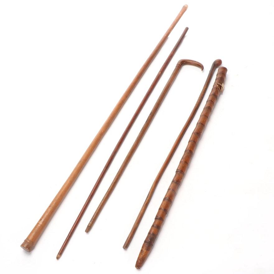 Five Vintage Canes / Walking Sticks