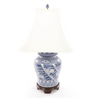 Frederick Cooper Asian Themed Blue and White Baluster Table Lamp, 1987