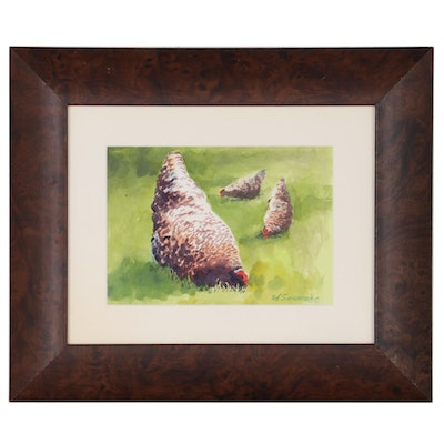 Bob Saueressig  Watercolor Painting of Chickens, 21st Century