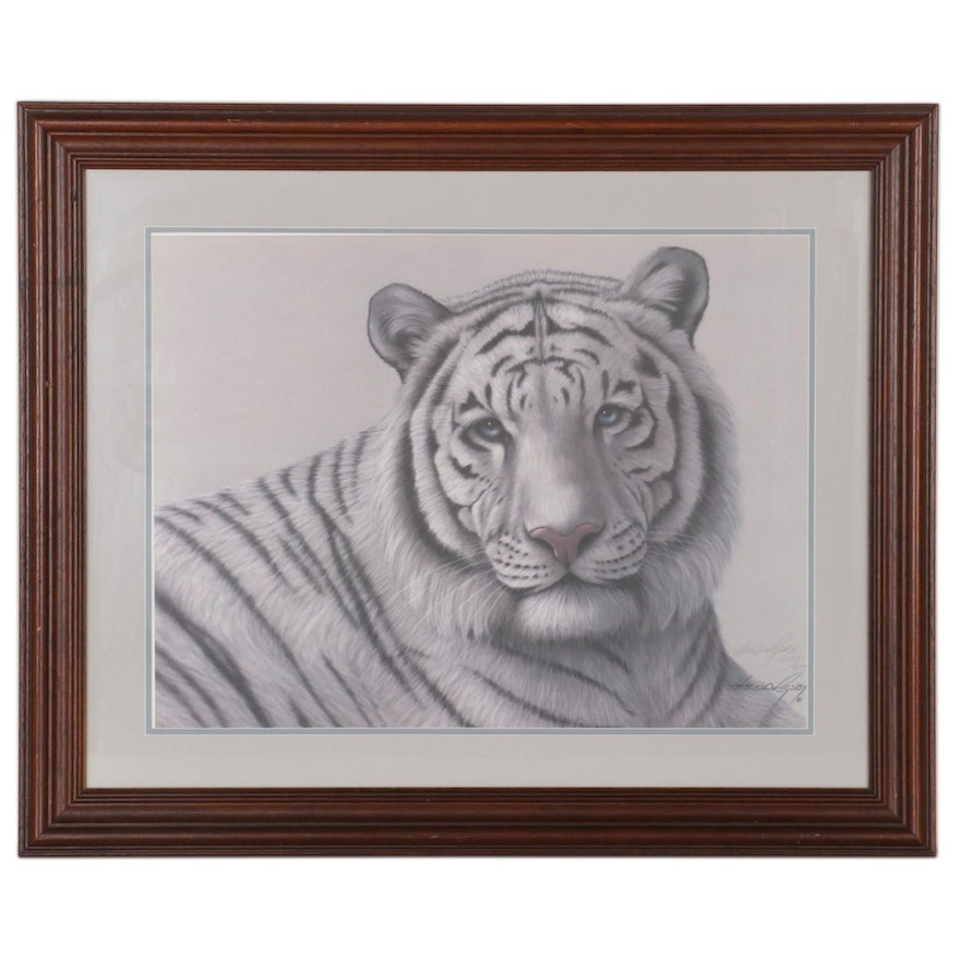 """Harold Rigsby Offset Lithograph """"White Bengal Tiger,"""" Late 20th Century"""