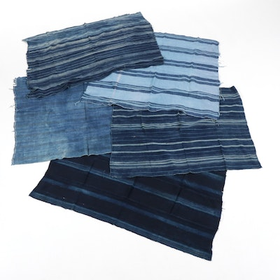 West African Yoruba Handwoven Indigo-Dyed Cotton Textile Wrappers