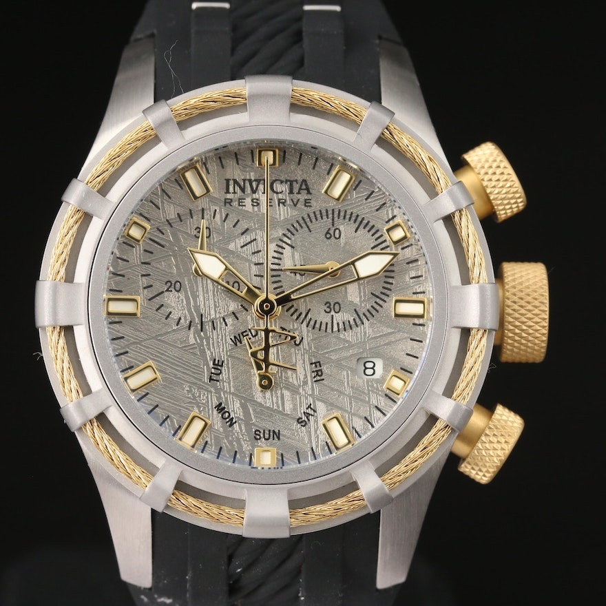 Invicta Bolt Chronograph Meteorite Dial Stainless Steel Quartz Wristwatch