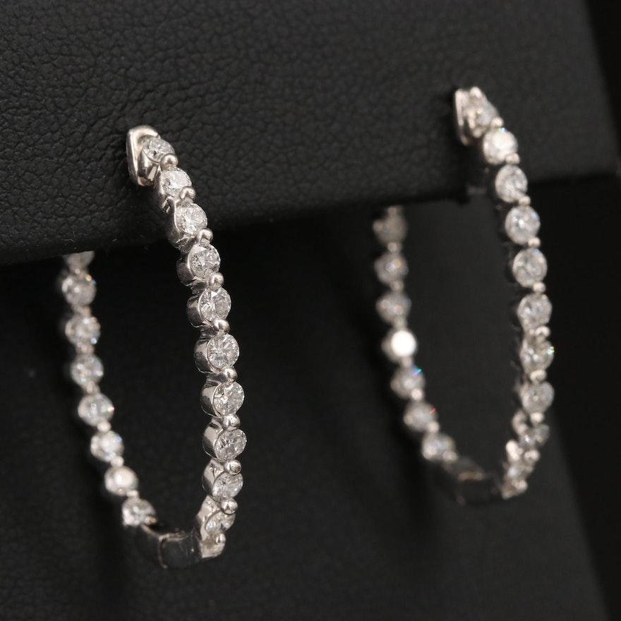 14K Gold 1.96 CTW Diamond Inside-Out Oval Hinged Hoop Earrings