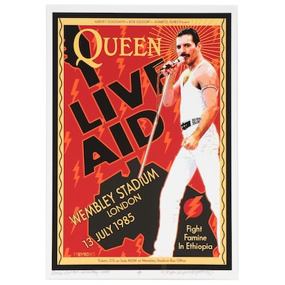 "David Edward Byrd Giclée ""Queen Live Aid at Wembley Stadium July 1985,"" 2020"