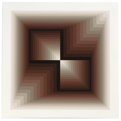 "Jurgen Peters Op Art Serigraph ""Contraction,"" 1981"