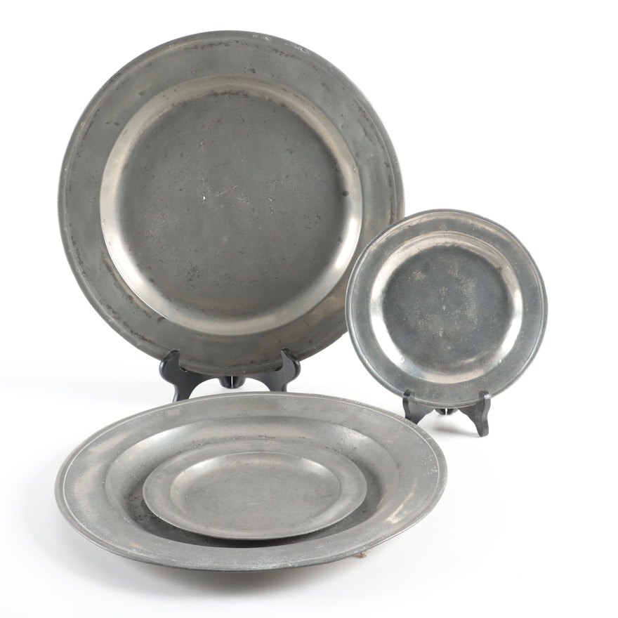 English Pewter Plates and Chargers, Early 20th Century