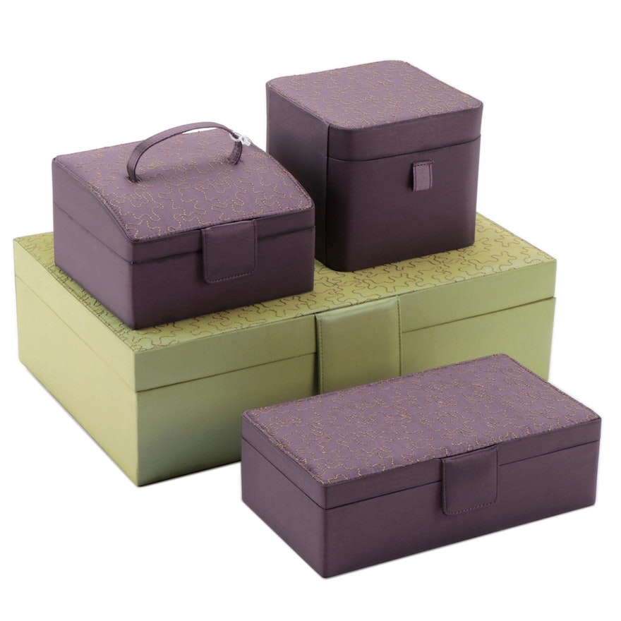 Rowallan Four Piece Jigsaw Embroidered Fabric Jewelry and Vanity Organizers