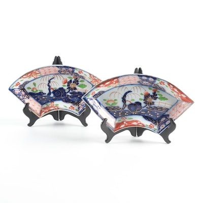 Pair of Imari Fan-Shaped Porcelain Dishes, Early 19th Century