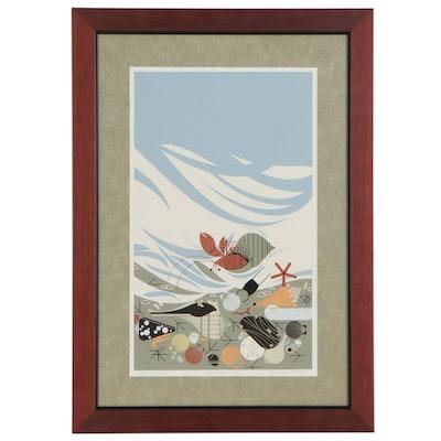 """Charley Harper Serigraph """"Crabitat,"""" 1987"""