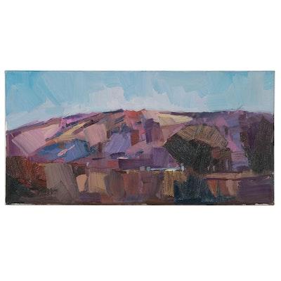 "Jose Trujillo Oil Painting ""Purple Mountains,"" 2020"