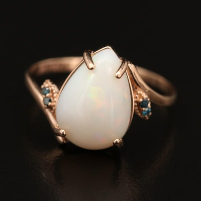 14K Rose Gold Opal and Diamond Bypass Ring