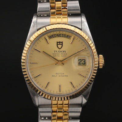 1982 Tudor Oyster Prince Date-Day 18K Gold and Stainless Steel Wristwatch