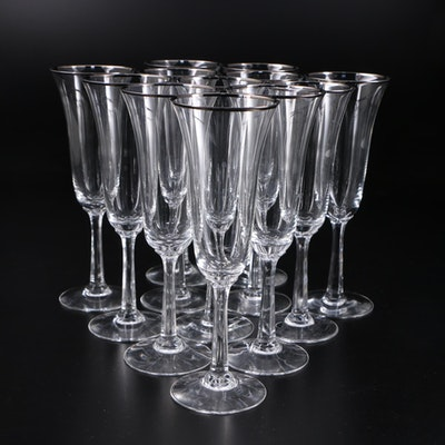 "Lenox ""Maywood Platinum"" Crystal Champagne Flutes, 1983–1994"