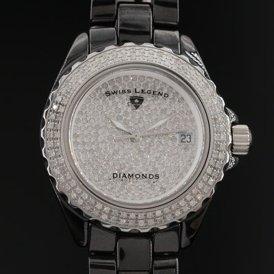 Swiss Legend Karamica 3.00 CTW Diamond Ceramic and Stainless Steel Wristwatch