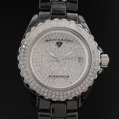 Swiss Legend Karamica 3.00 CTW Diamond Ceramic and Stainless Steel Wristwatch
