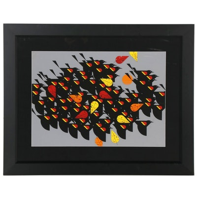 """Charley Harper Serigraph """"Birds of a Feather,"""" 1974"""