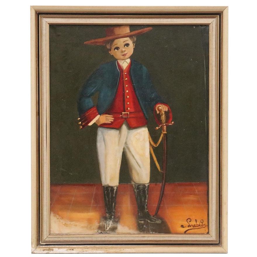 Agapito Labios Folk Oil Portrait, Mid-20th Century