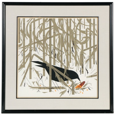 "Charley Harper Serigraph ""Crow in the Snow,"" 1974"