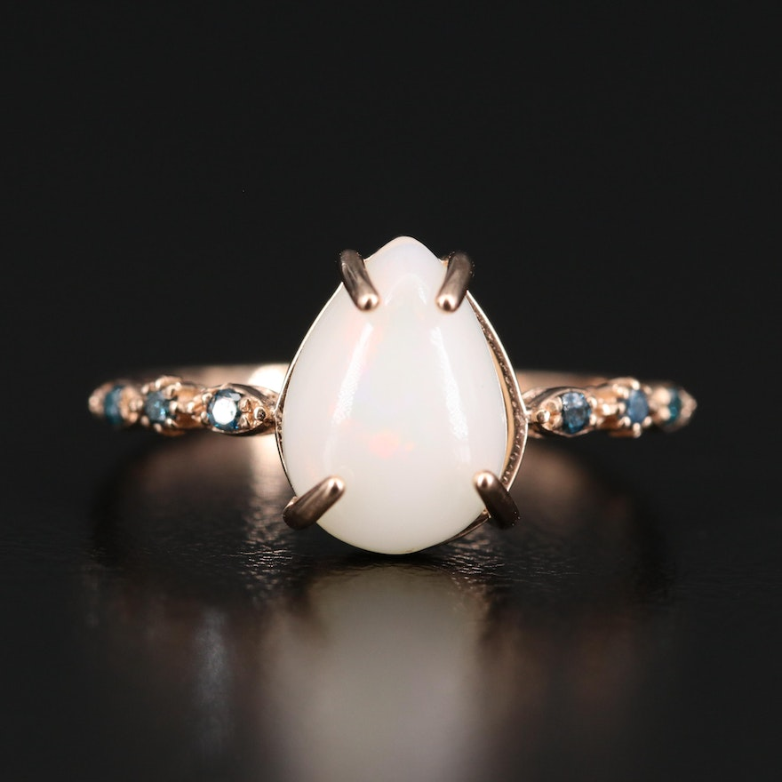 14K Pear Opal Cabochon and Diamond Ring