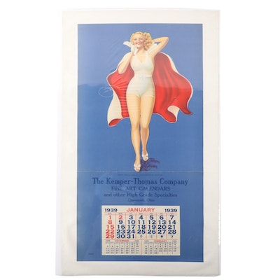 The Kemper-Thomas Co. Art Deco Pin-Up Girl Calendar Poster, 1939