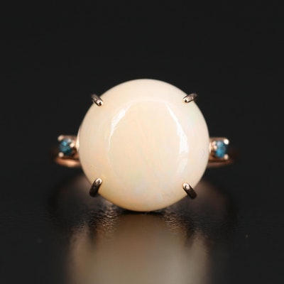 14K Oval Opal Cabochon and Diamond Ring