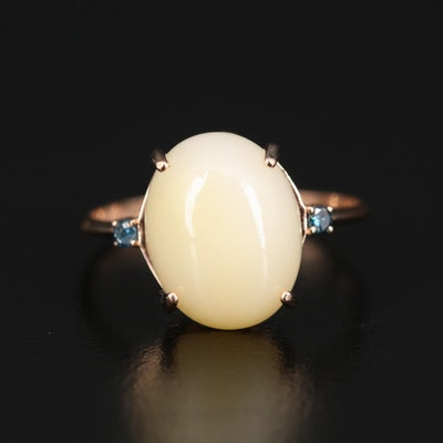14K Opal Cabochon and Diamond Ring
