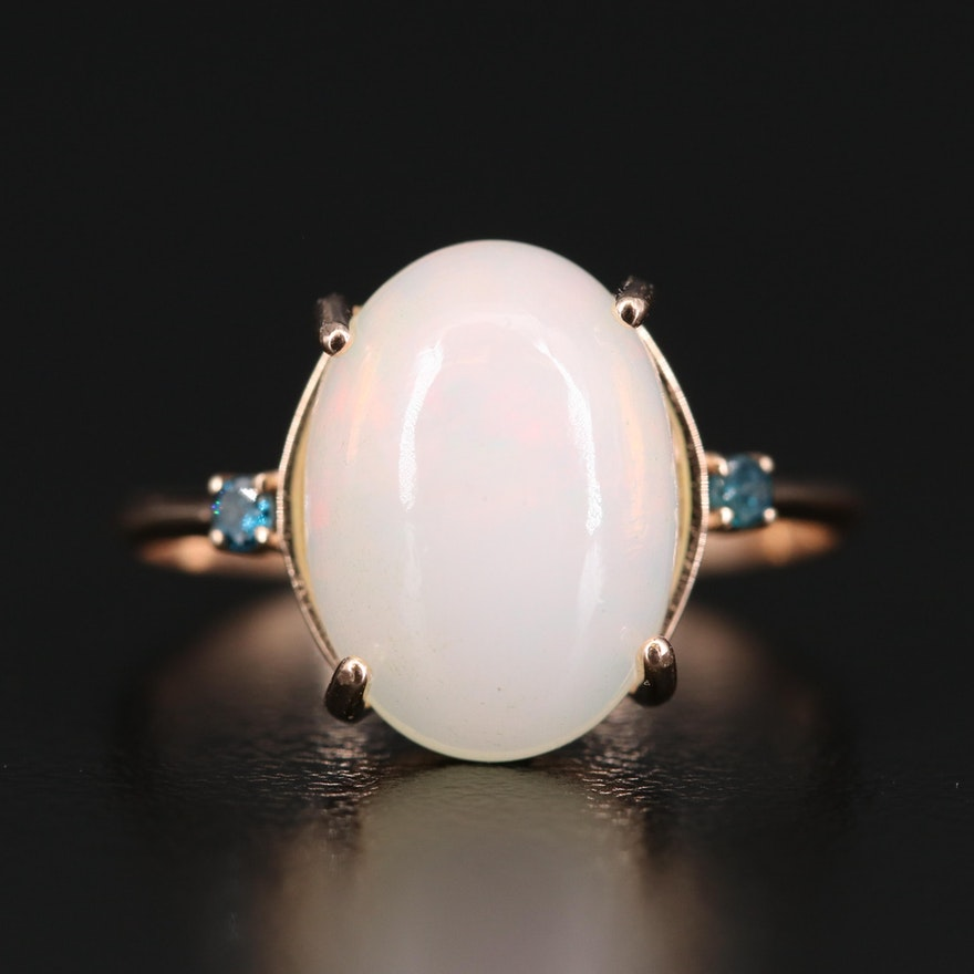 14K Opal Cabochon and Diamond Ring