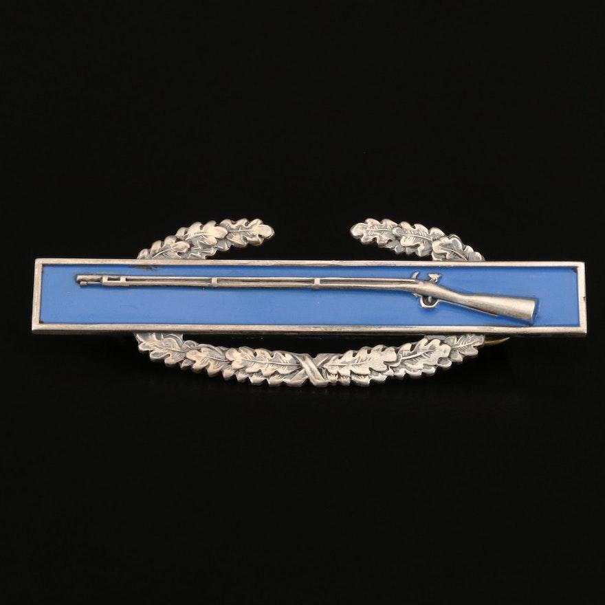 Vintage Sterling Enamel Combat Infantry Badge Pin