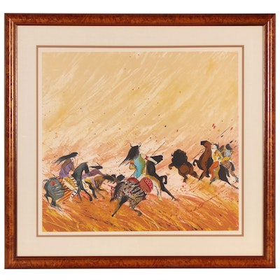 """Earl Biss Color Lithograph """"Buffalo Hunt,"""" 1980"""