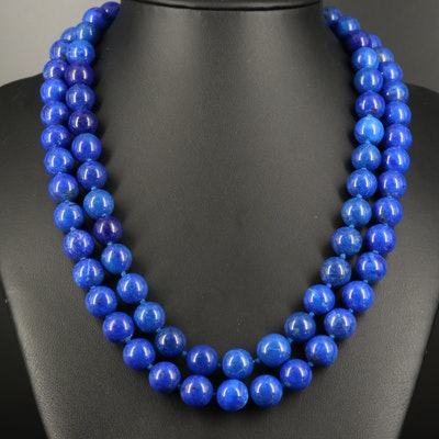 Lapis Lazuli Strand Necklace with 18K Clasp